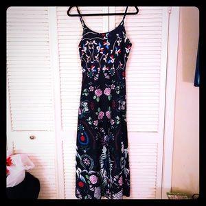 {Vintage}Boho black multi-floral/hippie maxi dress